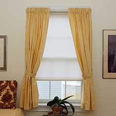 Cord free roller shade with curtains